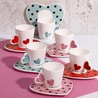 Porselen Figürlü Fincan Takımı Kalp