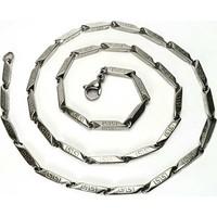 Osmanlı Gümüş Grek Desenli Çelik Erkek Zincir Kolye İnce Model