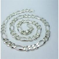 Osmanlı Gümüş Figaro Gümüş Erkek Kolye Zincir Kalın Model 39Gr