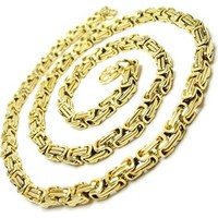 Osmanlı Gümüş Altın Kaplama Kral Erkek Çelik Zincir Kolye Ve Bileklik Set Orta Kalınlıkta