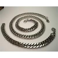 Osmanlı Gümüş Çelik Gurmet Erkek Zincir Kolye Bileklik Set Özel Sik Örüm