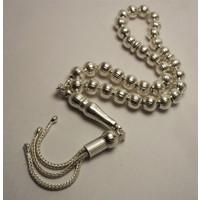 Osmanlı Gümüş Gümüş Tespih Çizgili Küre Ortaboy 17,5Gr