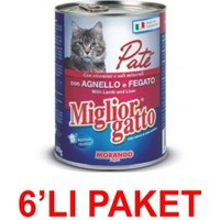 Miglior Gatto Kuzu Ve Ciğerli Pate Kedi Konservesi 400 Gr. (6'Li Paket)