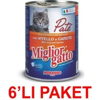 Miglior Gatto Dana Etli Ve Havuçlu Pate Kedi Konservesi 400 Gr. (6'Li Paket)
