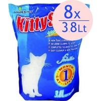 Kitty Sand Hijyenik Tozsuz Süper Emici Silika Kristal Kedi Kumu 3.8 Lt 1,6 Kg (8 Adet)