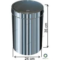 Arı Metal Dokunmatik Kapaklı 16 Lt Paslanmaz Çöp Kovası