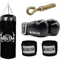 Delta Boks Torbası Seti -Siyah (1 Çift Boks Eldiveni - 1 Çift Kol Bandajı - Tavan Askı Aparatı) 120 x 35 cm