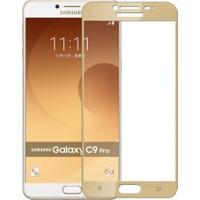 Case 4U Samsung Galaxy C9 Pro Full Kapatan Cam Ekran Koruyucu Altın