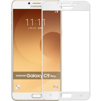 Case 4U Samsung Galaxy C9 Pro Full Kapatan Cam Ekran Koruyucu Beyaz