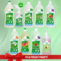 Mom's Green Organik Temizleyiciler 9'lu Set (Çamaşır Deterjan, Yumuşatıcı, Çamaşır suyu, Bulaşık jel, Bulaşık Elde Yıkama, Mutfak Sprey, Çok Amaçlı Yüzey Temizleyici, Banyo ve Wc Temizleyici , Babys )