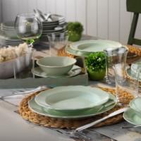 Kütahya Porselen 24 Parça Lar Yeşil Renk Yemek Seti