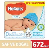 Huggies Yenidoğan Islak Havlu (Saf ve Doğal) 672 Yaprak - 12li Paket