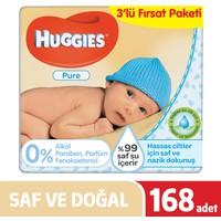 Huggies Islak Havlu (Saf ve Doğal) 168 Yaprak - 3Lü Fırsat Paketi
