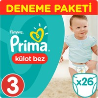 Prima Pants Külot Bebek Bezi 3 Beden Midi Deneme Paketi 26 Adet