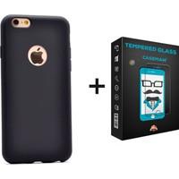 Case Man Apple iPhone SE Kılıf + Kırılmaz Cam Por Silikon Kadifemsi Doku