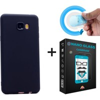 Case Man Samsung C7 Kılıf + NanoGlass Cam Por Silikon Kadifemsi Doku