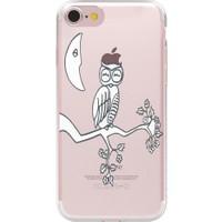 Remeto Apple iPhone 6/6S Plus Beyaz Baykuş Resimli Şeffaf Silikon Kılıf