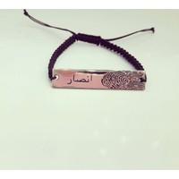 Şahin Gümüş Arapça İsimli Parmak İzi Plaka İpli Bileklik 8 Ayar (Roz)