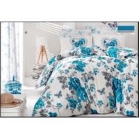 Beğenal Neva Ranforce %100 Pamuk Battal Nevresim Takımı Yatak Odası Takımı Mavi Çeyizlik Hediyelik