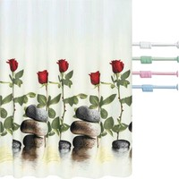 Prado Red Rose Banyo Perdesi + Banyo Askısı