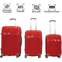 VKN Kırmızı Abs Bavul 4 Tekerlekli Set
