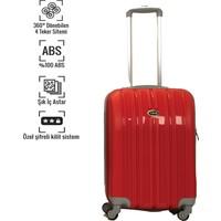 VKN Kırmızı Küçük Boy Abs Bavul 4 Tekerlekli