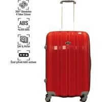 VKN Kırmızı Orta Boy Abs Bavul 4 Tekerlekli