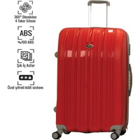 VKN Kırmızı Büyük Boy Abs Bavul 4 Tekerlekli