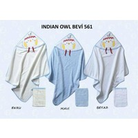 Bebekevi Bebek Indian Owl Dokuma Kapşonlu Havlu 2 li Set Beyaz