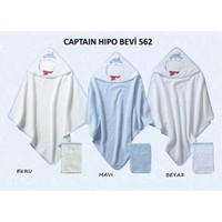 Bebekevi Bebek Captain Hipo Dokuma Kapşonlu Havlu 2 li Set Beyaz