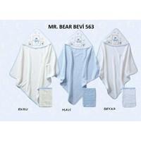 Bebekevi Bebek Papyonlu Ayıcık Dokuma Kapşonlu Havlu 2 li Set Beyaz