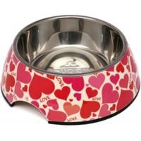 Super Design Melamin Çelik Kedi Köpek Mama Kabı Large Pembe Kalp Desen