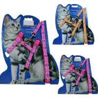 Kedi Bayrak Desenli Göğüs Tasma Ve Uzatma Takım
