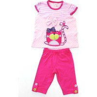 Minice Kids Pisicik Nakışlı Kaprili Kız Bebek Takımı