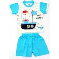 Minice Kids Gemi Nakışlı Şortlu Erkek Bebek Takımı Mavi