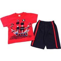 Minice Kids Korsan Gemi Nakışlı Erkek Çocuk Takımı Kırmızı