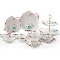 Vitale Pembe Altın Kuğu Desenli 31 Parça Çay Seti