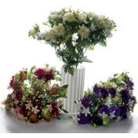 Vitale Rengarenk Yapay Buket Çiçek (Beyaz-Mor-Turuncu)