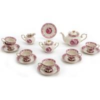 Vitale 17 Parça Pembe İşlemeli Çay Seti