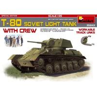 Miniart 1/35 Ölçek Plastik Maket, T-80 Sovyet Hafif Tankı Ve Mürettebatı, Çalışabilir Paletli Özel Sürüm