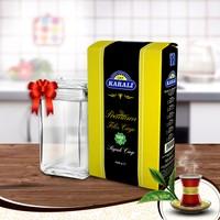 Karali Premium Filiz Çayı 1 kg + Paşabahçe Cam Saklama Kabı