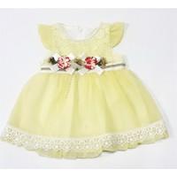 Miss Marine İncili Kız Bebek Elbisesi Sarı
