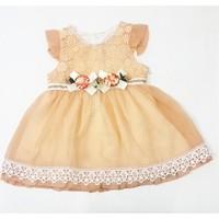 Miss Marine İncili Kız Bebek Elbisesi Yavruağzı