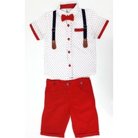 Çıtır Yıldız Papyonlu Erkek Çocuk Takımı Kırmızı