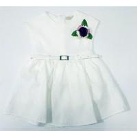 Canwin Çiçek Desenli Kız Çocuk Elbise Beyaz