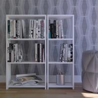 Eyibil Mobilya Mini Modern 2 Li Kitaplık Parlak Beyaz