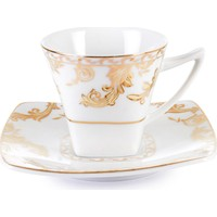 Cutechef Kitchen Porselen Kare Kahve Takımı Gold