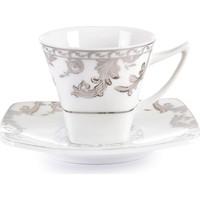 Cutechef Kitchen Porselen Kare Kahve Takımı Platin