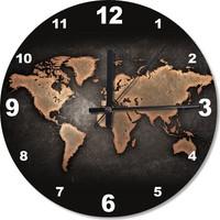 Tablomega Siyah Zeminde Dünya Haritası Baskılı Duvar Saati