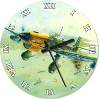 Tablomega İkinci Dünya Savaşındaki Alman Savaş Uçağı Analog Duvar Saati